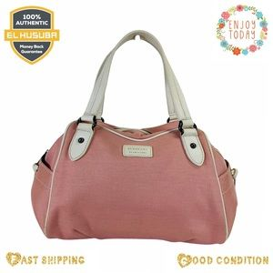 Burberry satchel bag pink canvas blue label